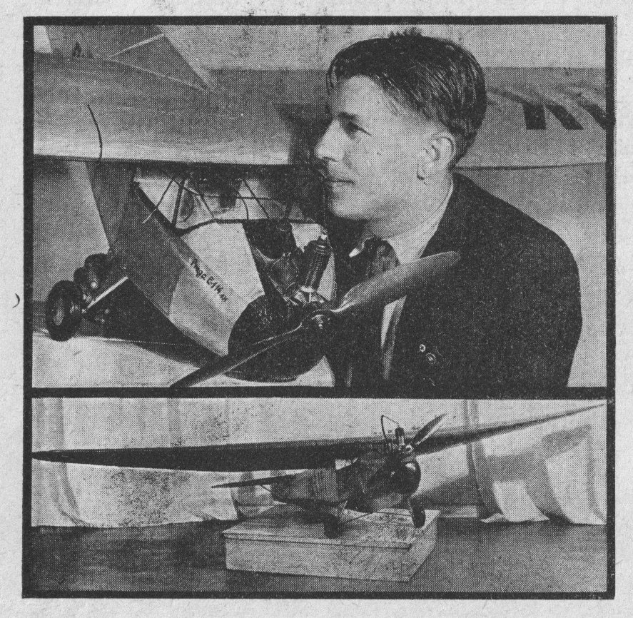 Jarda-Horacek-s-modelem-E-114-Praga-Baby---Mlady-letec,-brezen-1937