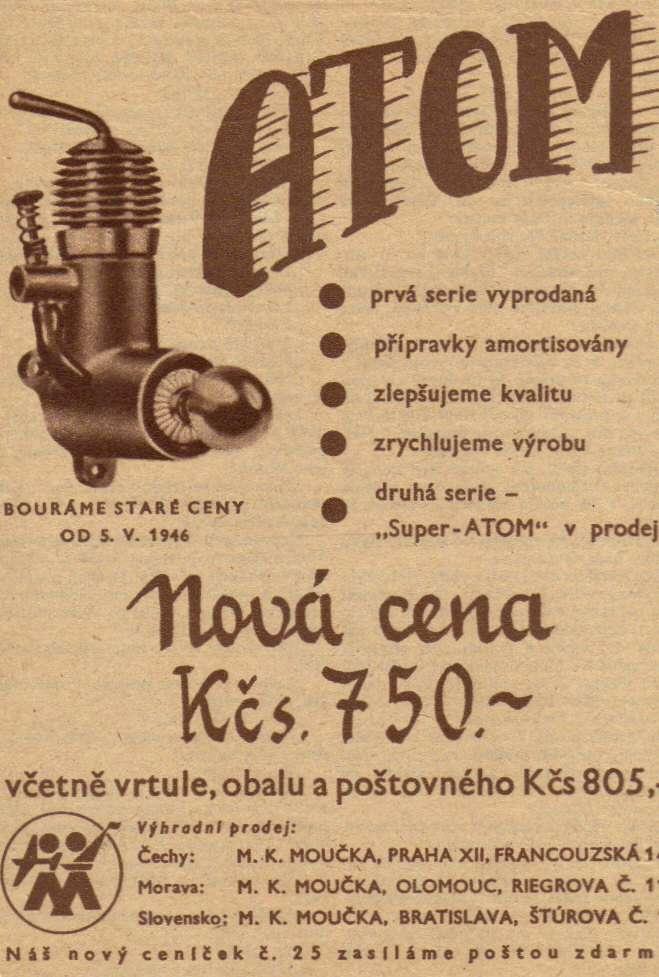 Foto č. 2 - ATOM - další z inzerátů - ROZLET, ročník II., č.19, 8. května 1946
