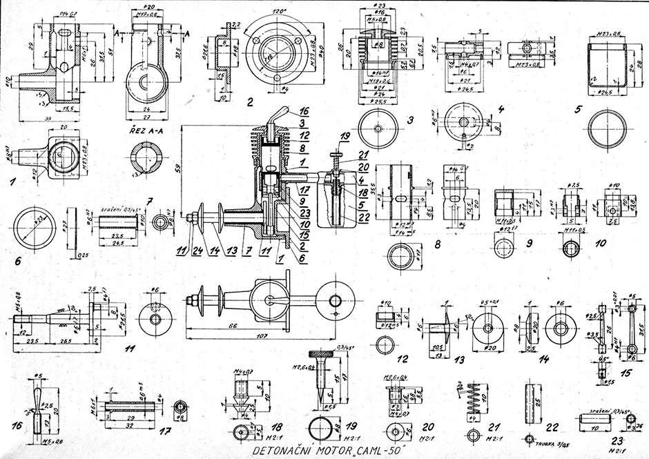 Foto č. 9 - Výkres motoru CAML-50 - Letecký modelář č. 12- 1952